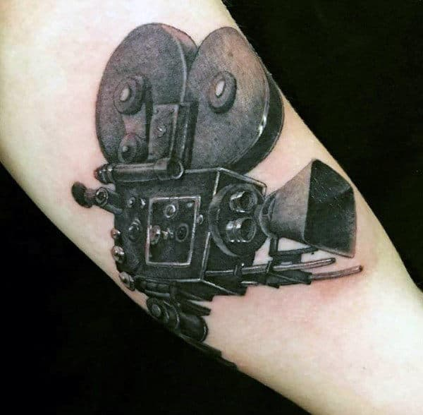 Black Ink Movie Camera Tattoo Male Forearms