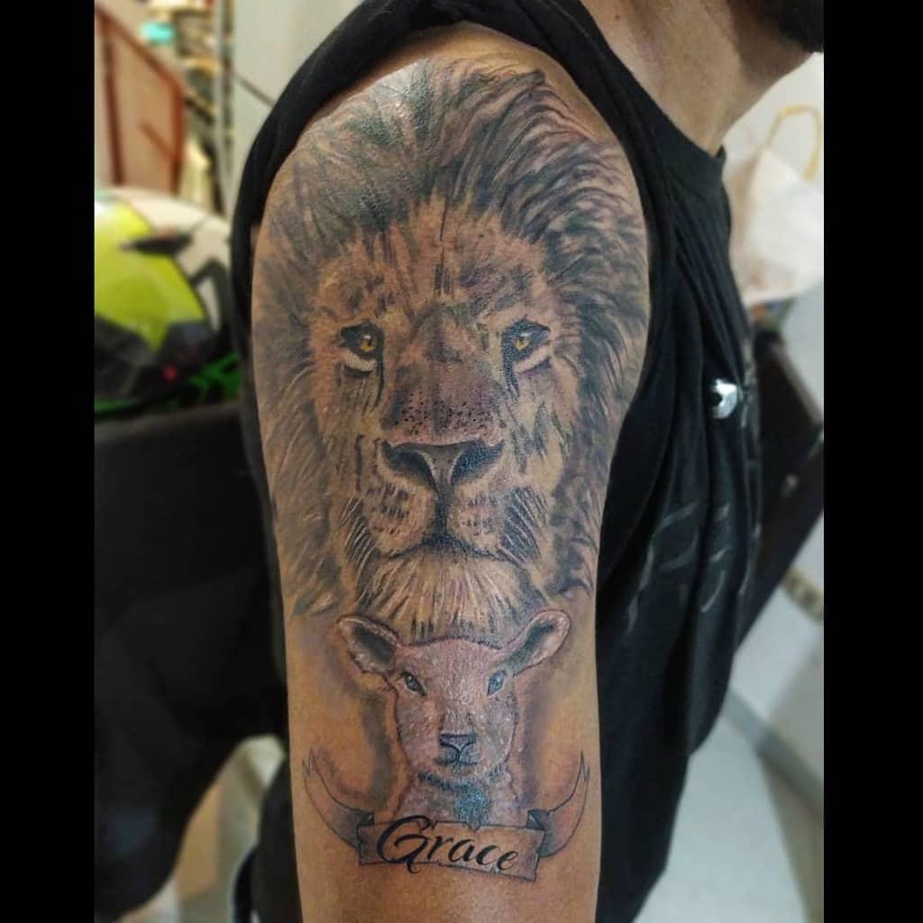 Black Lion and Lamb Tattoo agudelo_arts