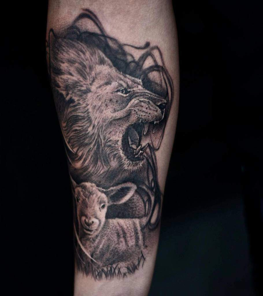 Black Lion and Lamb Tattoo drew_romero_tattoos