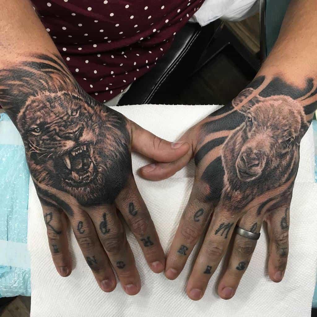 Black Lion and Lamb Tattoo roveink