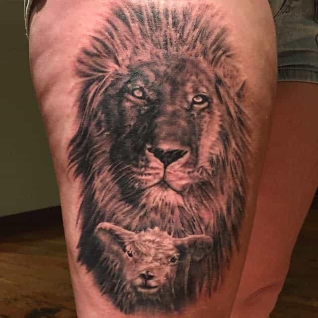 Black Lion and Lamb Tattoo vicstattoos_13