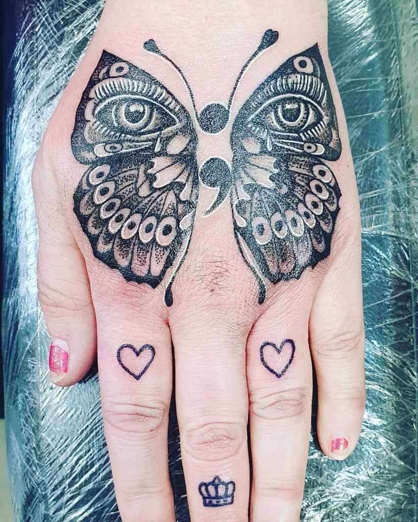 Black Semicolon Butterfly Tattoo mswonderwomen