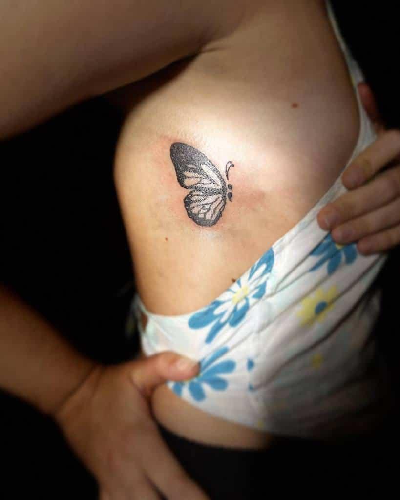 Black Semicolon Butterfly Tattoo nash_ink