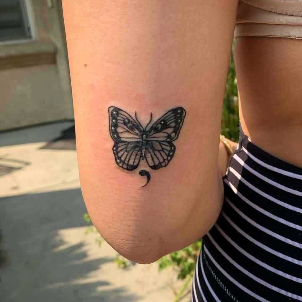 Black Semicolon Butterfly Tattoo slumprat_tattoos