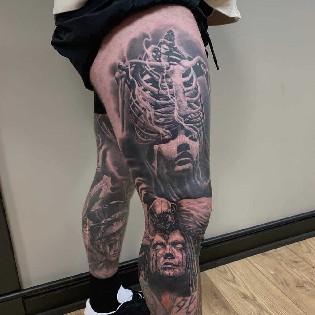 Black and Gray 3D Ideas leg sleeve tattoo