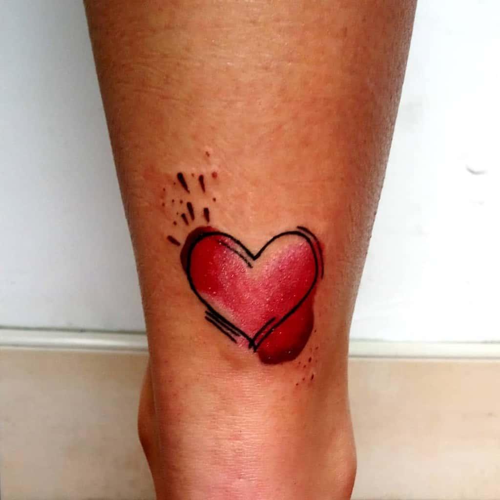 Black And Red Heart Tattoo Pixi Tattoo