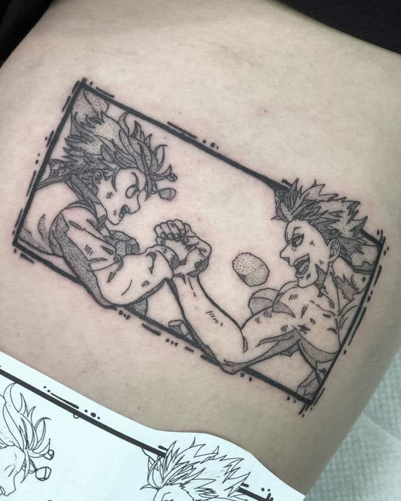 Black And Gray Meliodas Tattoo