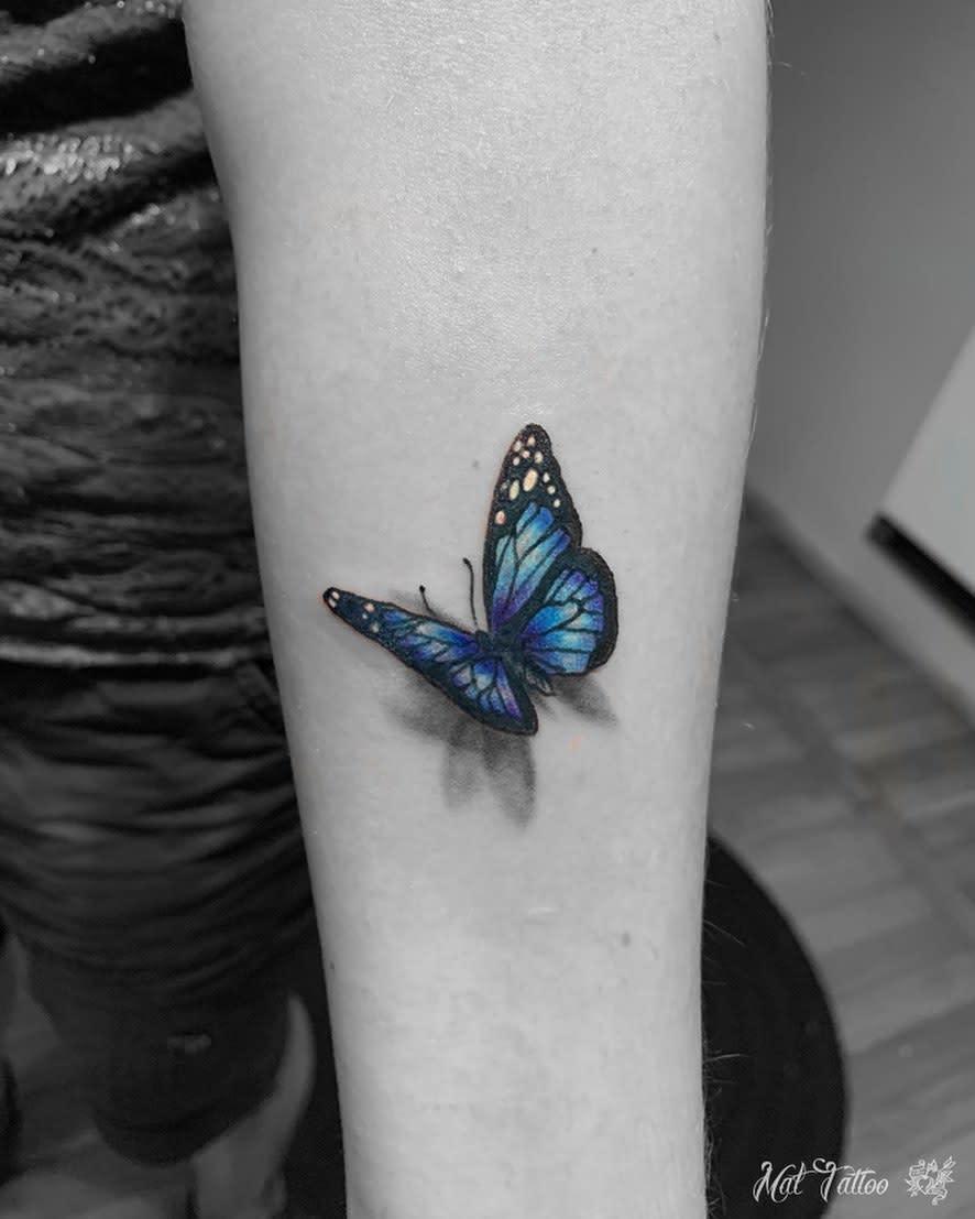 Blue 3D Butterfly Tattoo mat_tattoo
