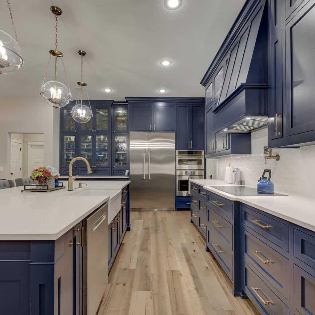 Blue Kitchen Cabinet Color Ideas ellecordesign