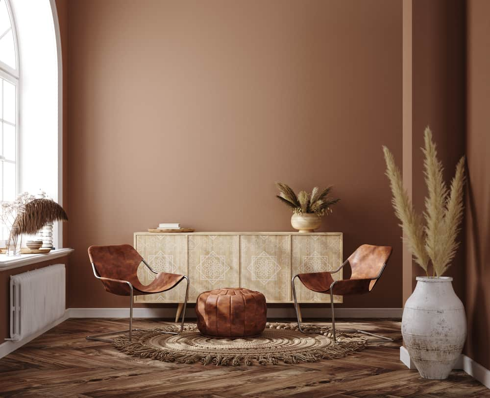 Home,Interior,With,Ethnic,Boho,Decoration,,Living,Room,In,Brown