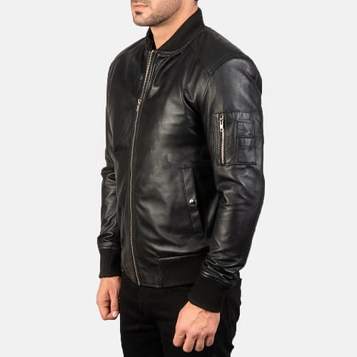 Bomia Ma-1 Black Leather Bomber Jacket