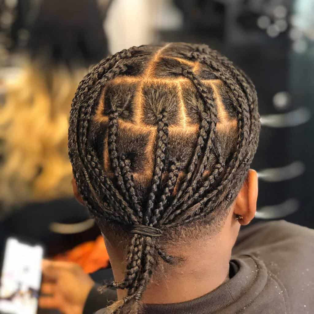 Man With Box Braid Ponytail Hairstyle