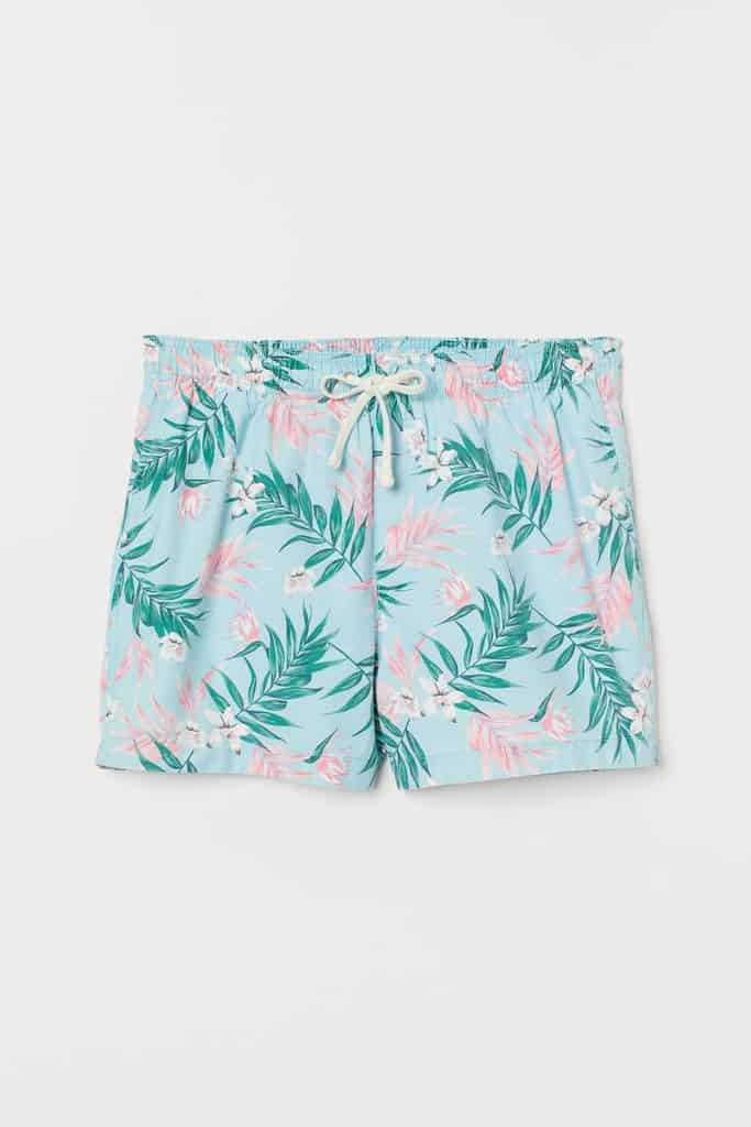 Swim shorts in woven fabric with a printed design