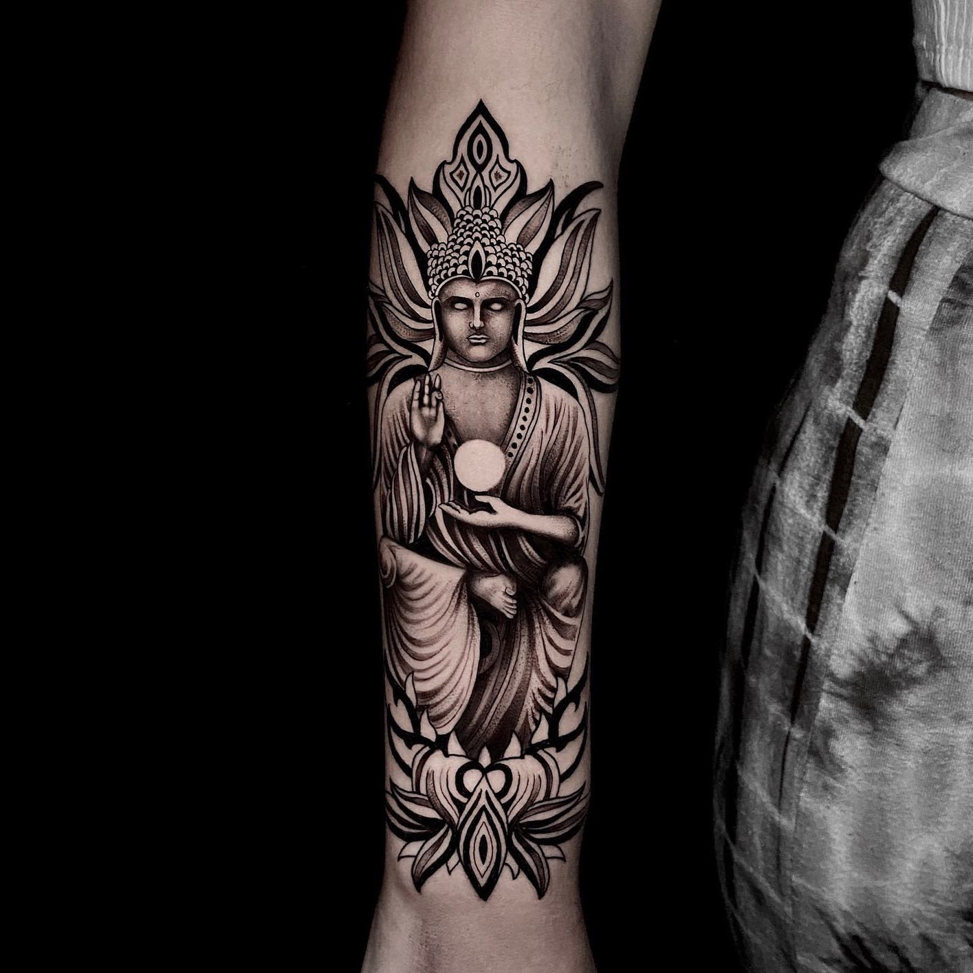 Forearm Buddha Tattoo -noah_hasenei