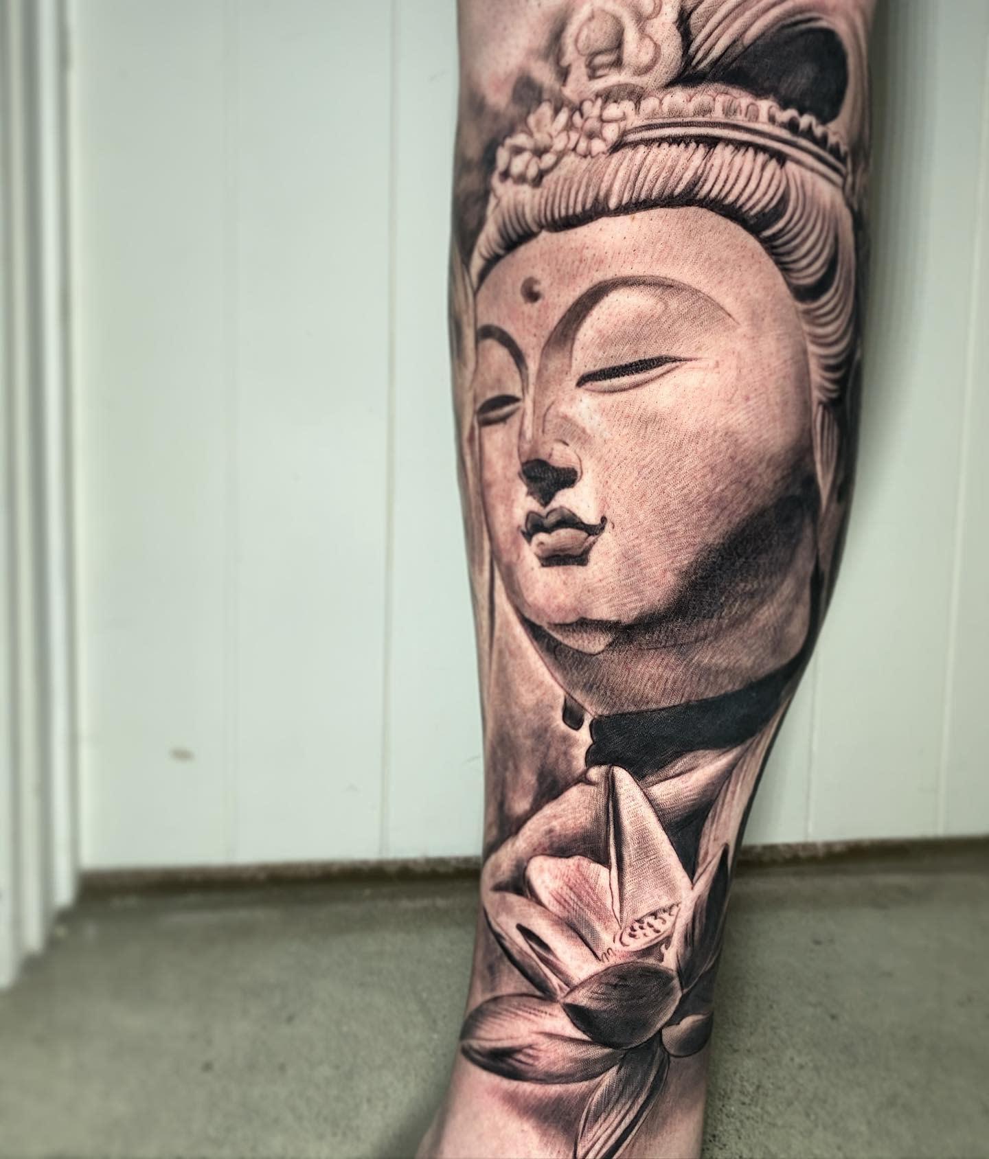 Leg Buddha Tattoo -dwain_aiono