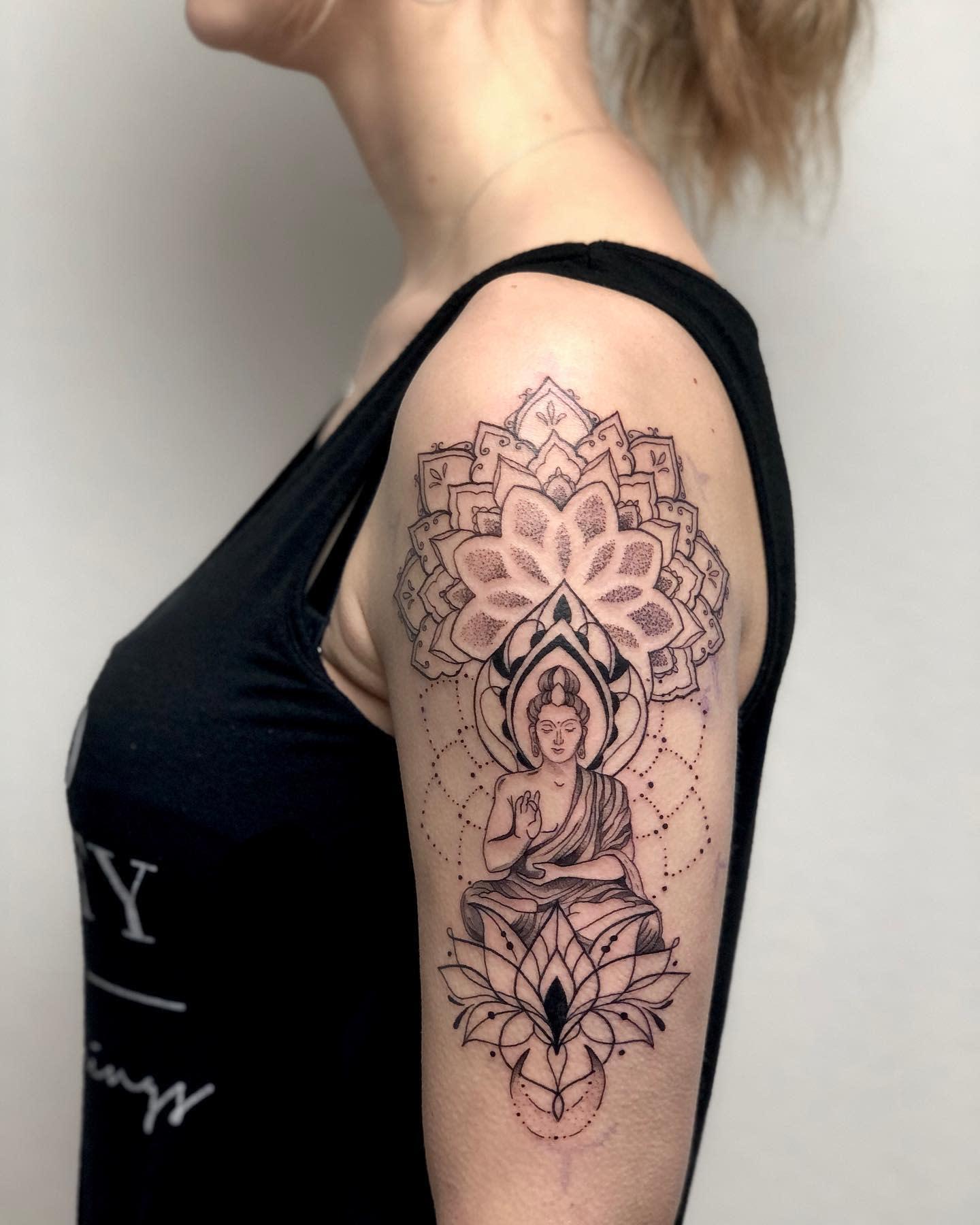 Mandala Buddha Tattoo -ksy.tattoo