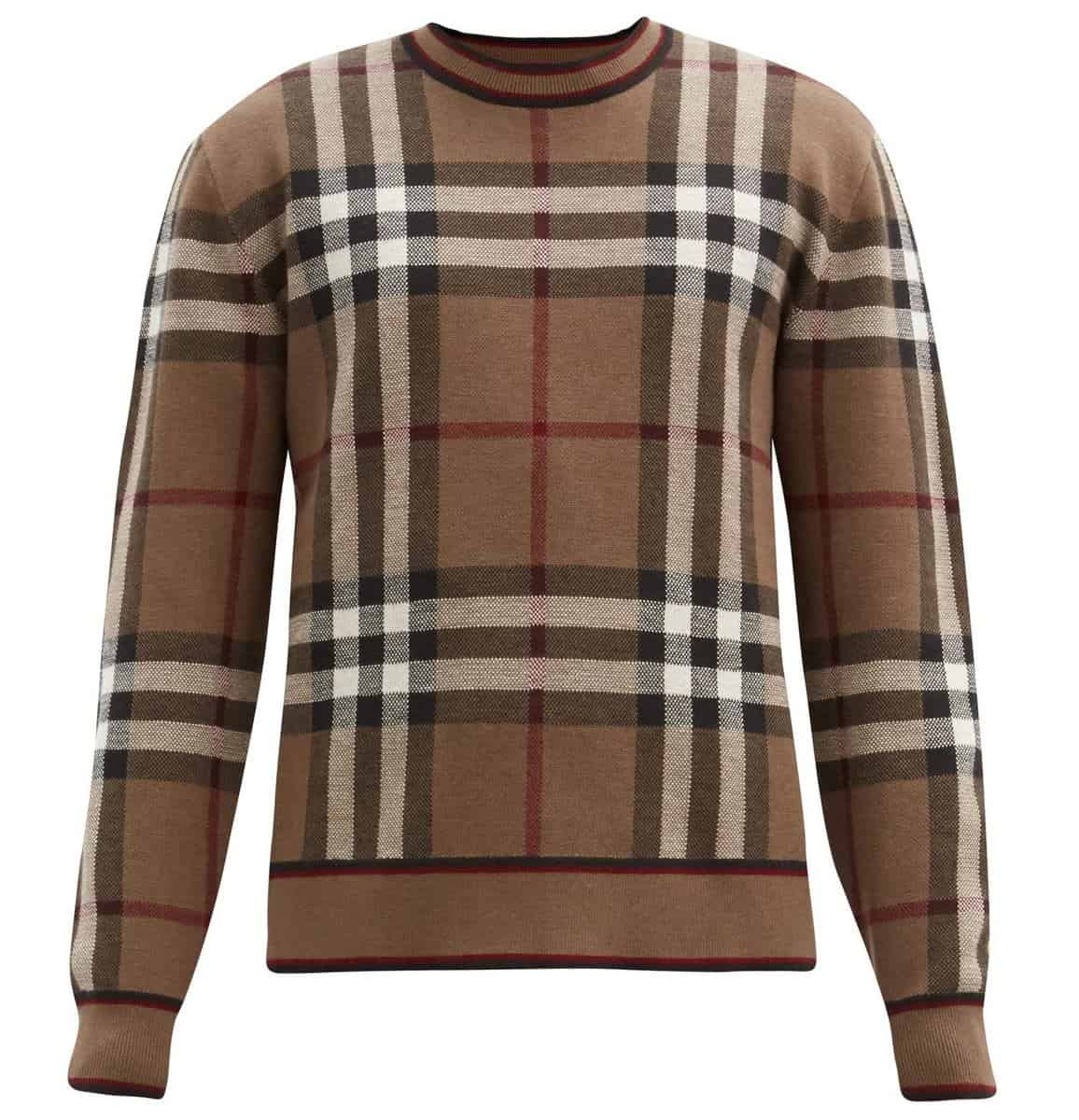 Burberry Check Intarsia Merino Wool Sweater