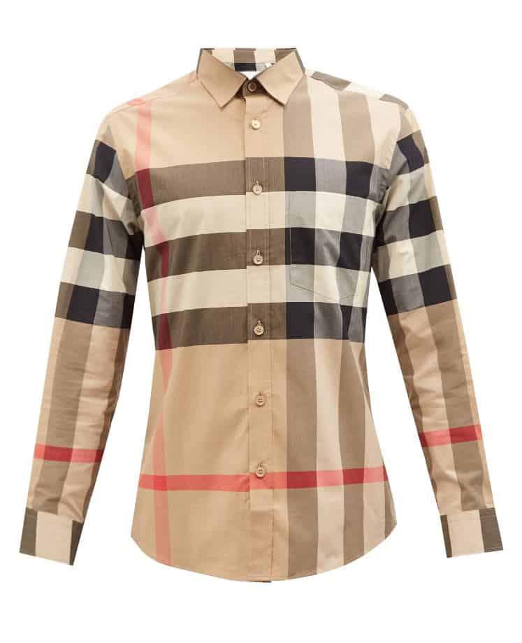 Burberry Somerton Macro-Check Poplin Shirt