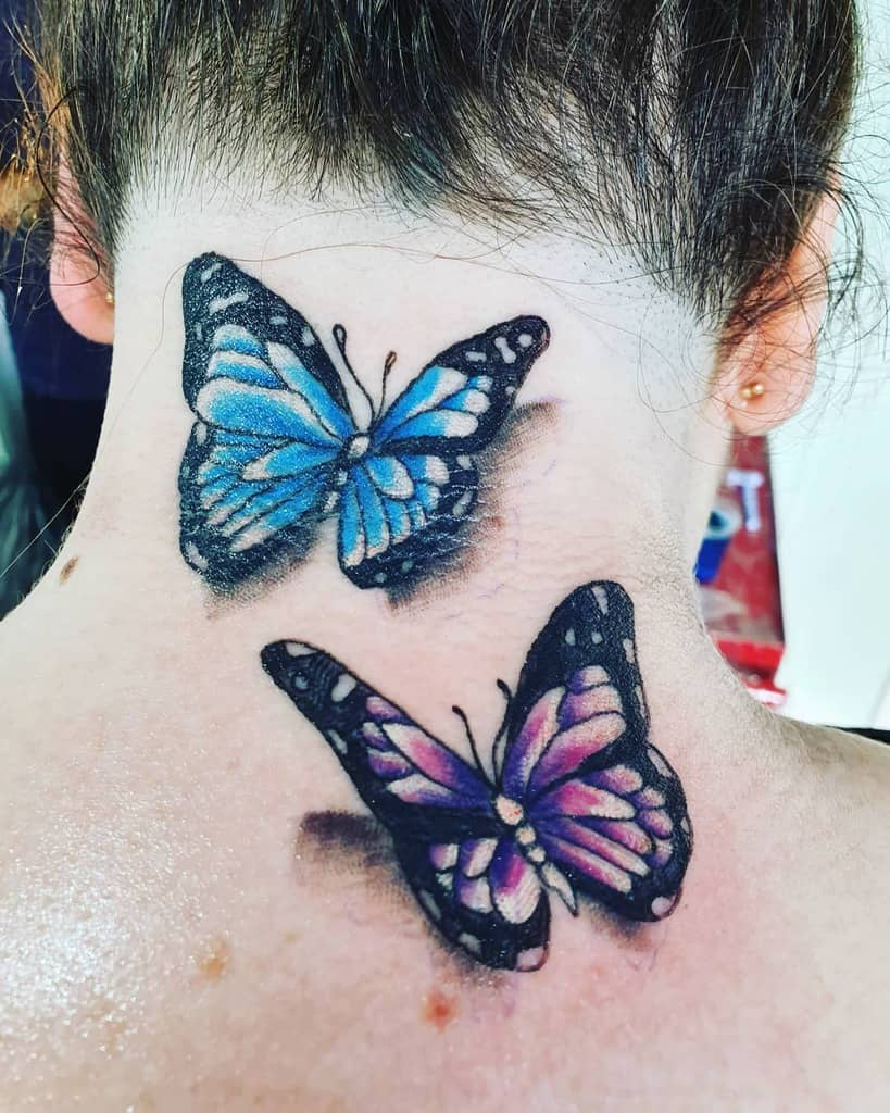 Butterfly Back of Neck Tattoos lowkey_ink_epidermal_artistry