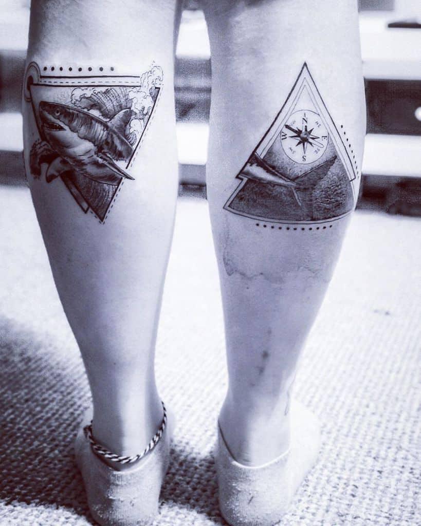 calf-geometric-shark-compass-ocean-tattoo-greysandblacksandpanicattacks