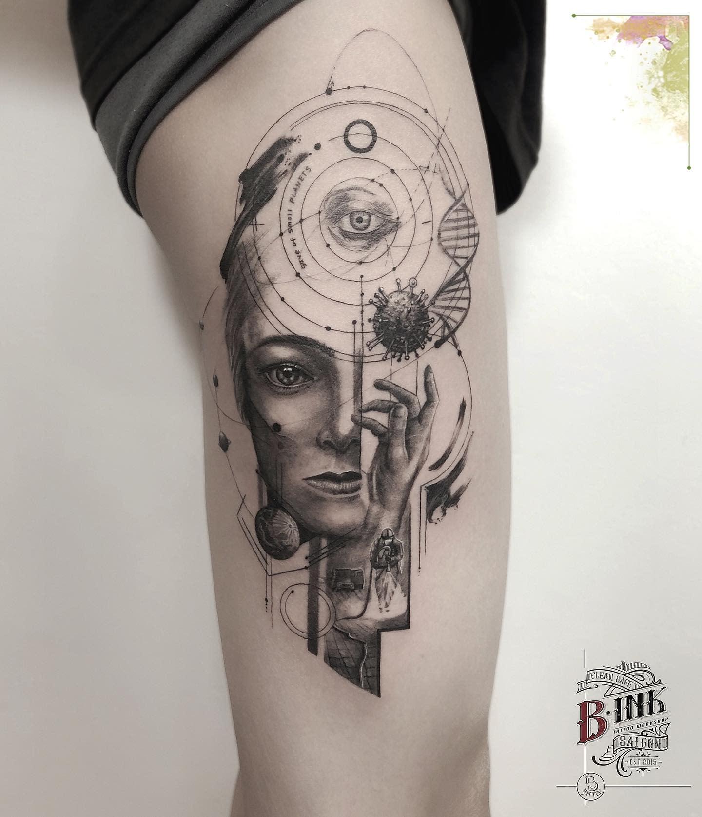 Upperarm COVID Tattoo -bink.tattooer