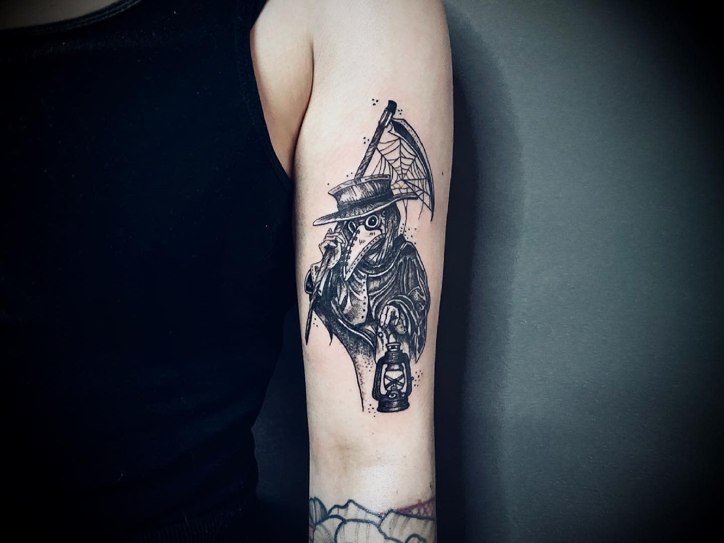 Upperarm COVID Tattoo -kate.witch