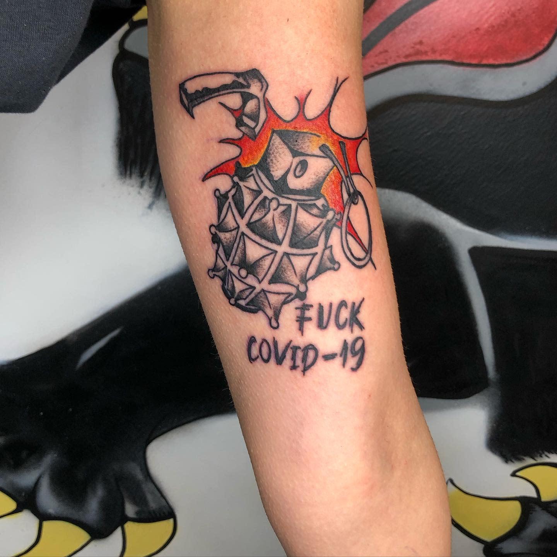 Upperarm COVID Tattoo -oldblacktattoo