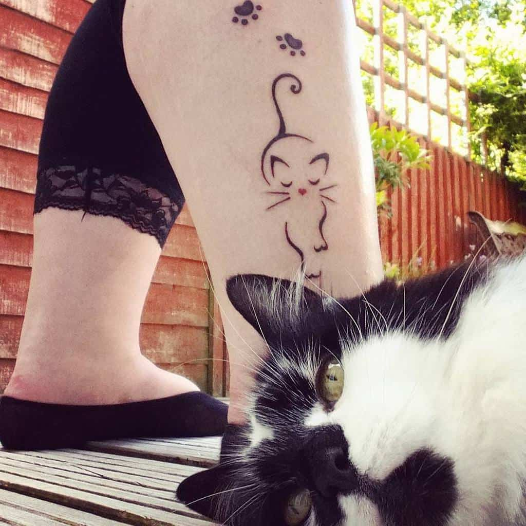 Cat Outline Ankle Tattoo cookieboolee