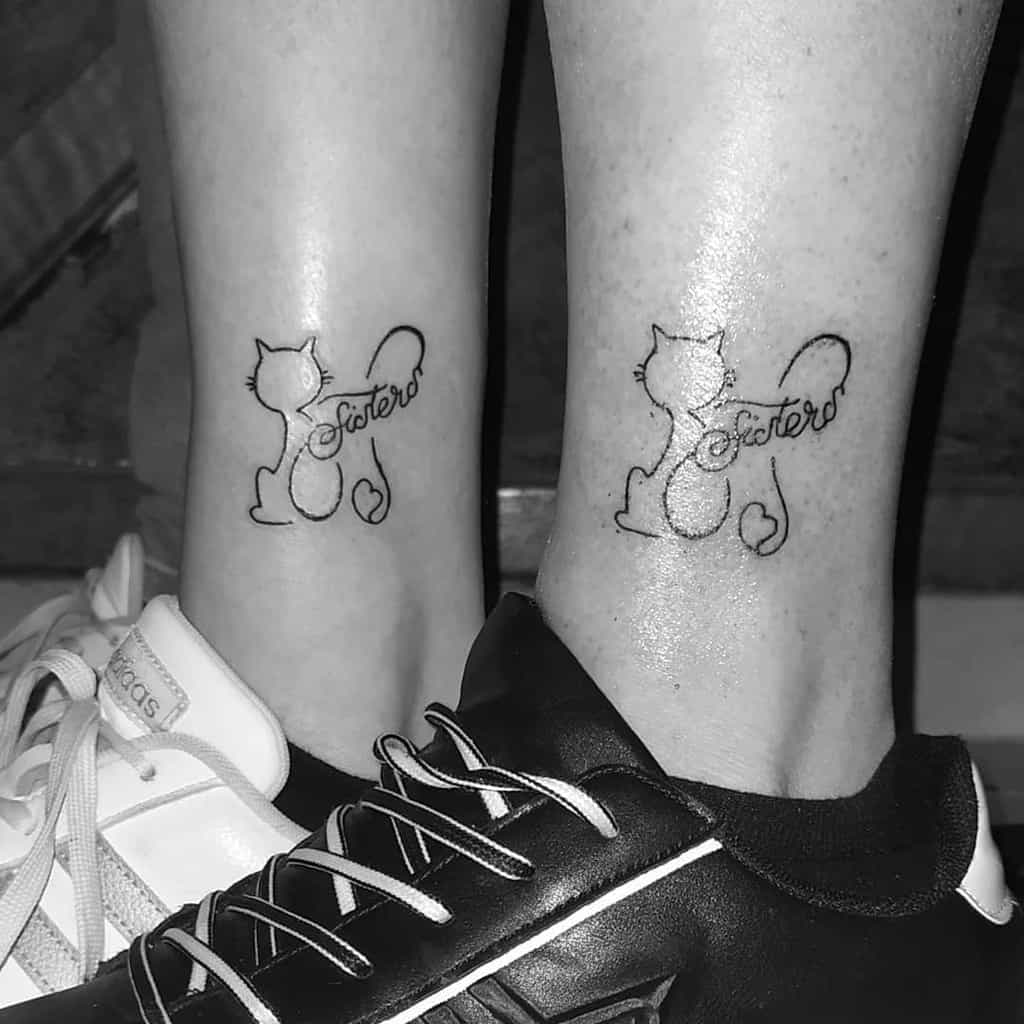 Cat Outline Ankle Tattoo melicia.inkme