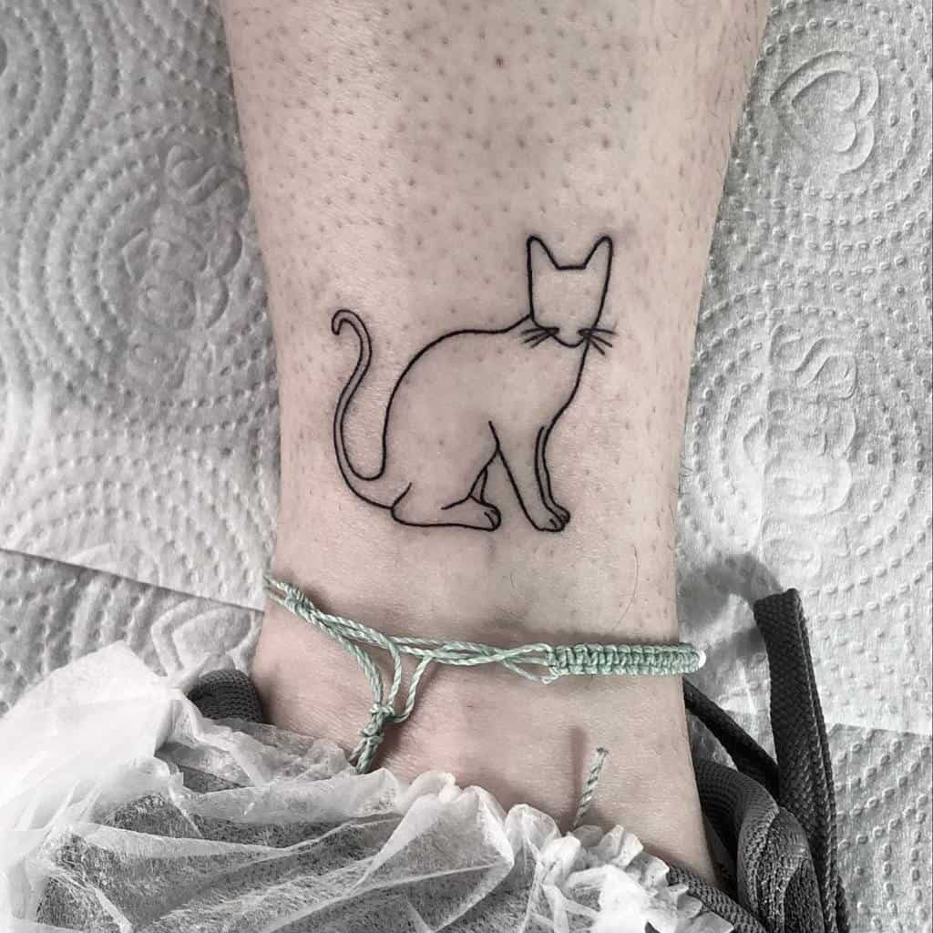 Cat Outline Ankle Tattoo ricardorugnotattoo
