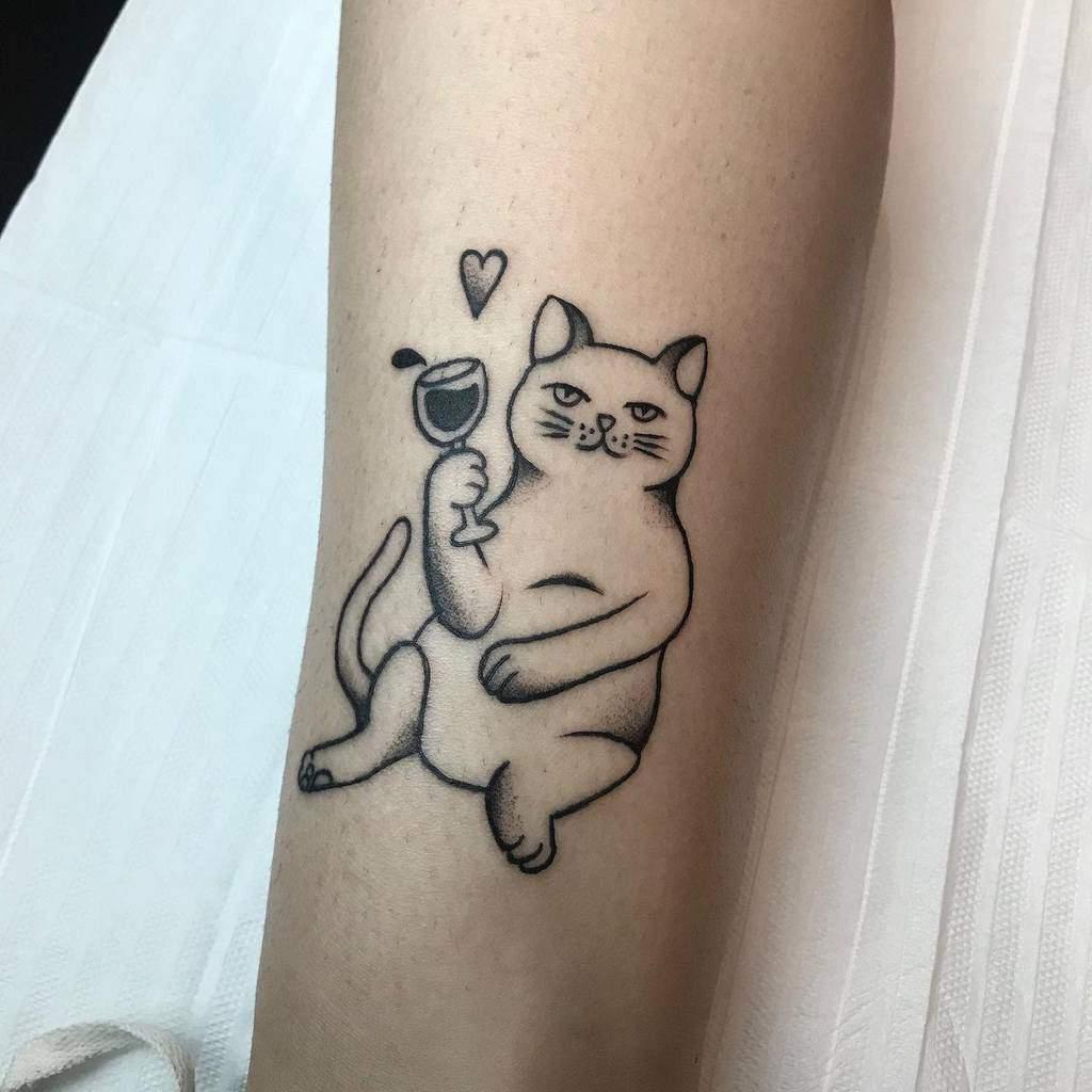 Cat Outline Forearm Tattoo creepysofi