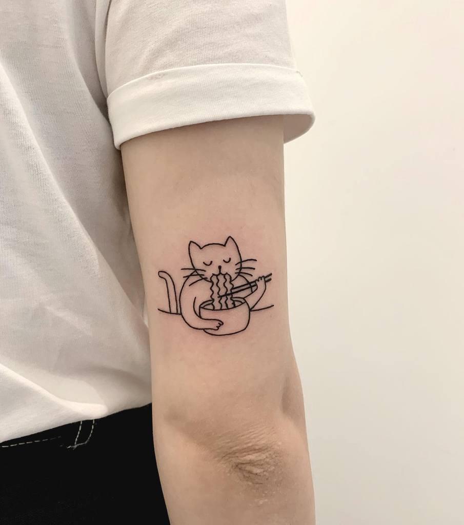 Cat Outline Upperarm Tattoo na.nago