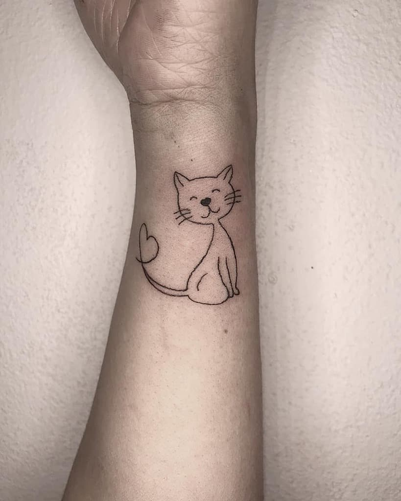 Cat Outline Wrist Tattoo raianesoaresdelima