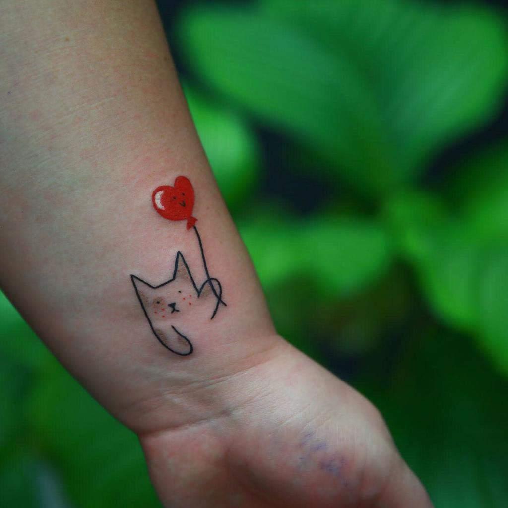 Cat Outline Wrist Tattoohiacyntaa