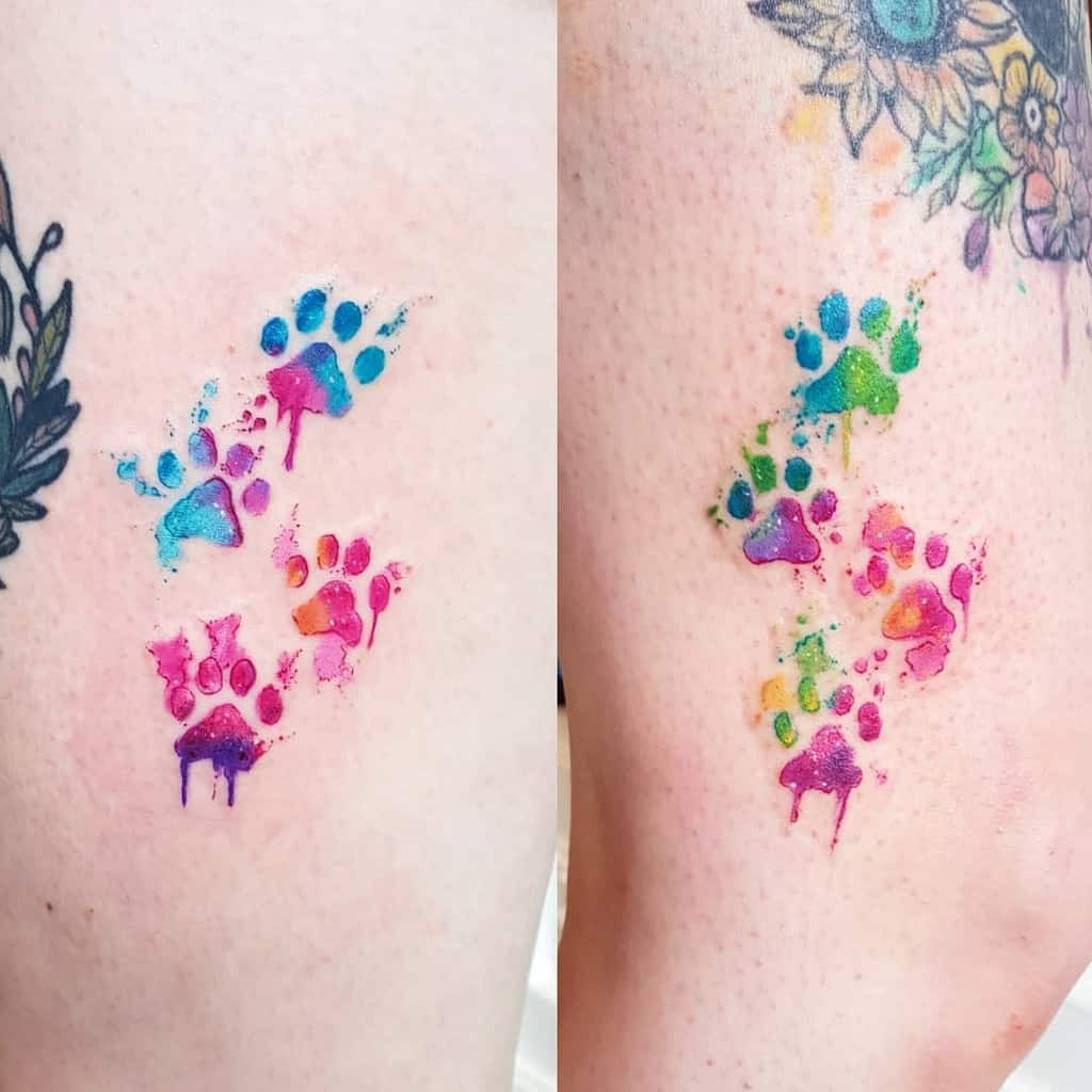 Cat Paw Print Watercolor Tattoo milky_tattoodles