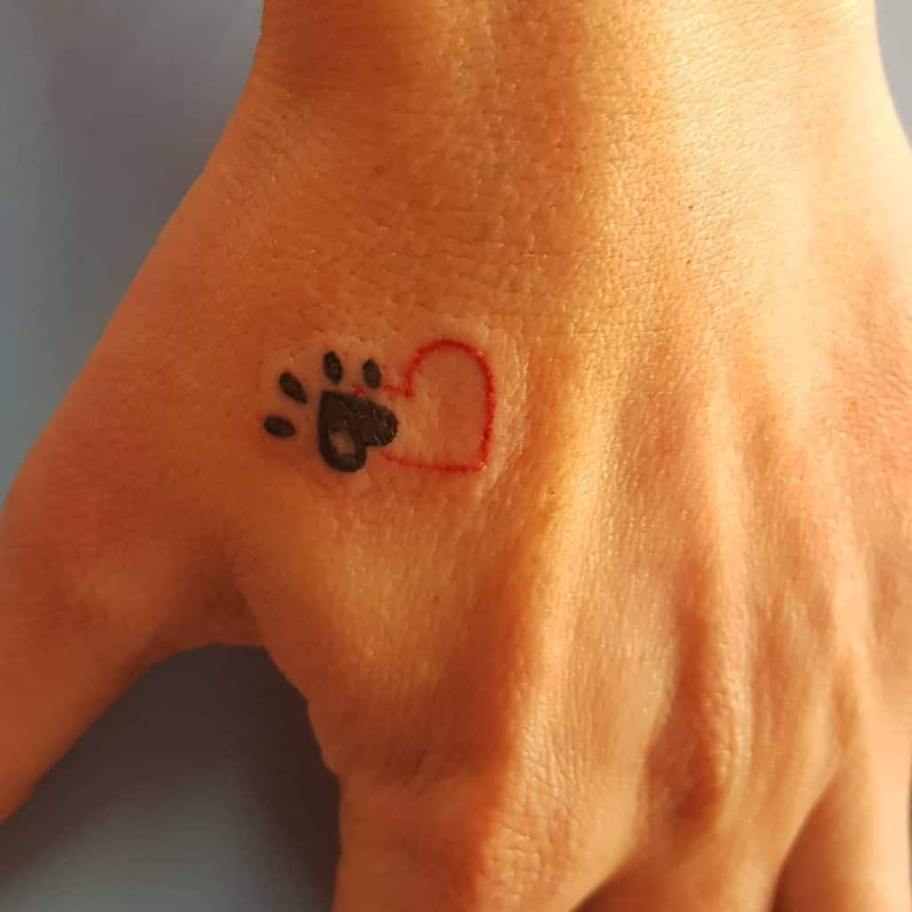 Cat Paw Print with Heart Tattoo eldersigntattoo