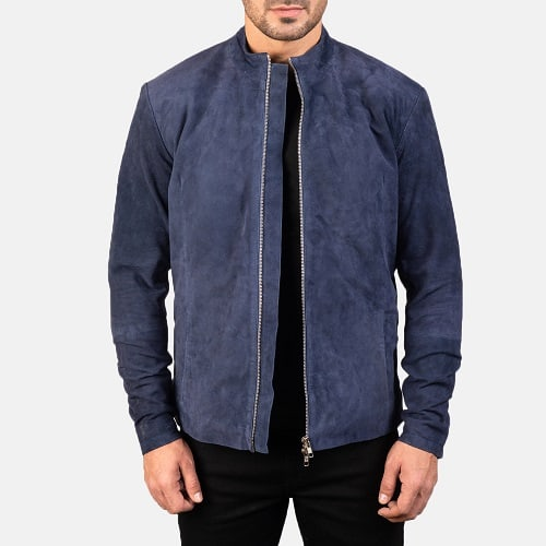 Charcoal Navy Blue Suede Biker Jacket