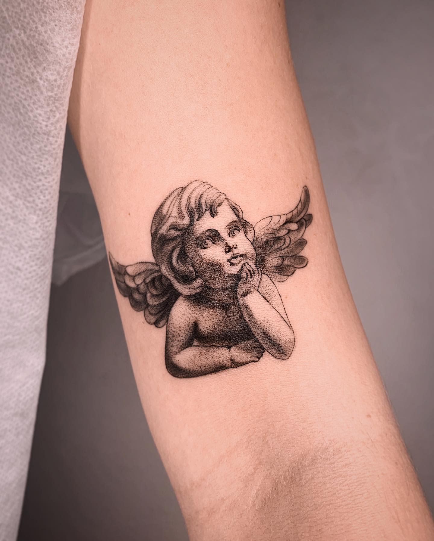 Realistic Cherub Tattoo -d_ratajczyk