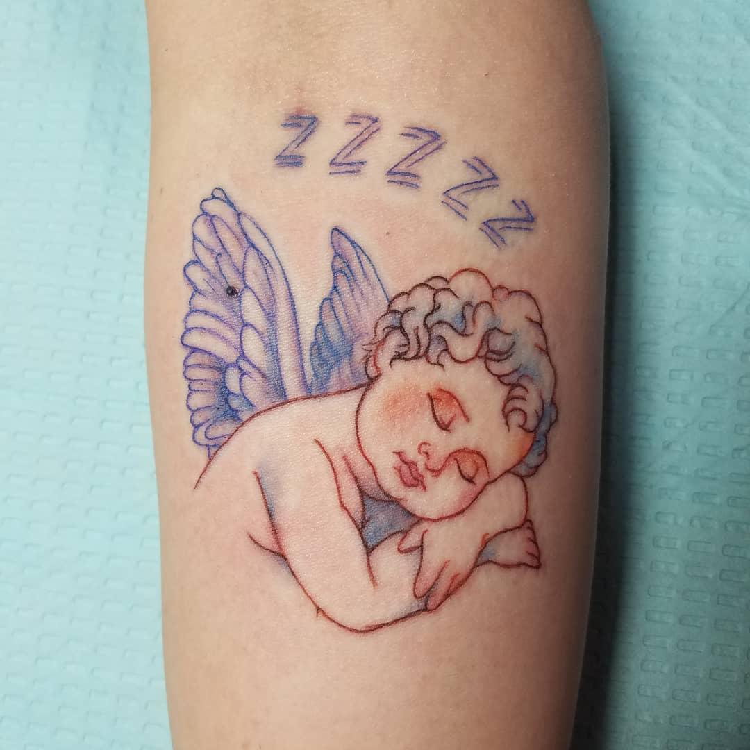Sleeping Cherub Tattoo -mr_blacklight