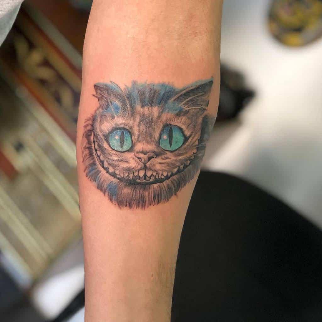Cheshire Cat Forearm Tattoo javiercano24