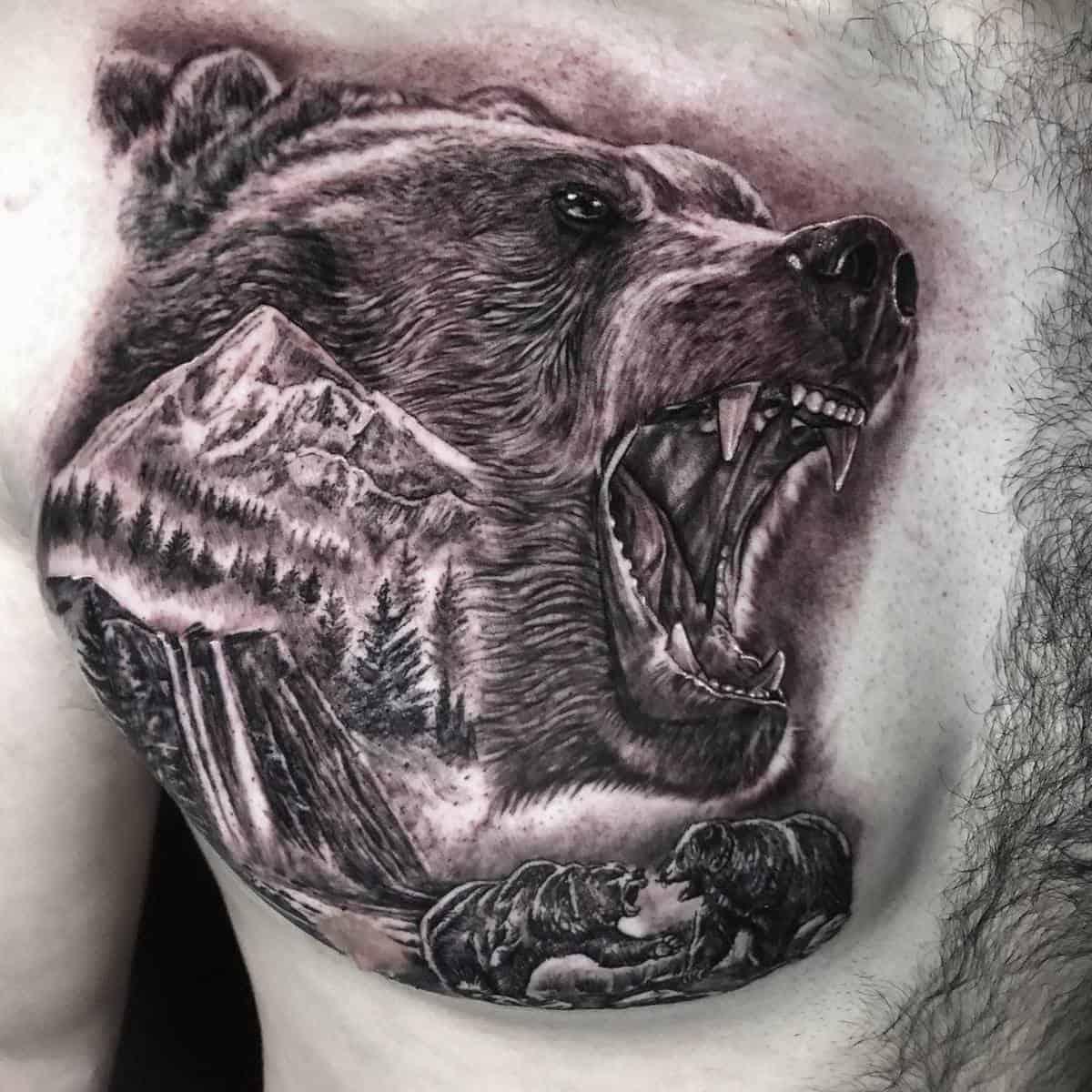 Chest Black Bear Tattoo javiereastman