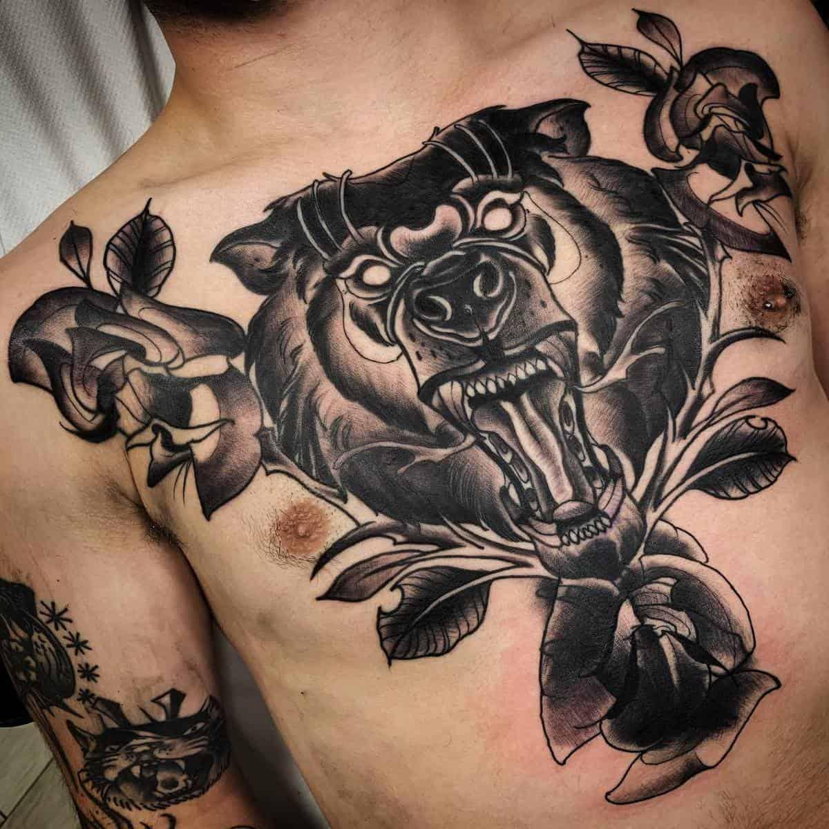 Chest Black Bear Tattoo theironstattoo