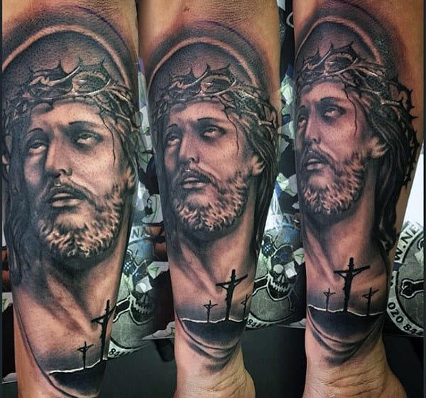 Christ And Cross Religious Tattoo Male Forearms