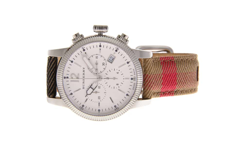 Burberry chronograph Haymarket watch is seen against a blank background
