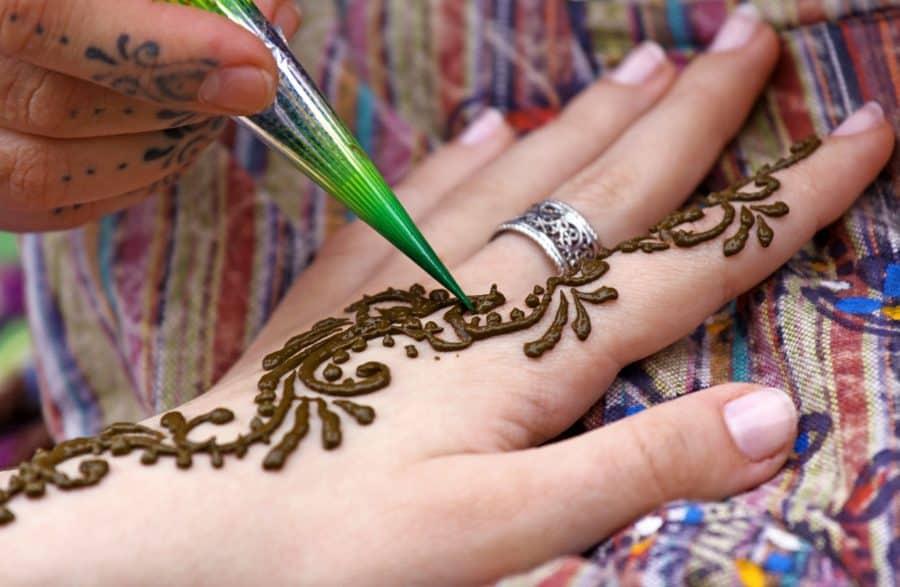 Close Up Henna Application Piping
