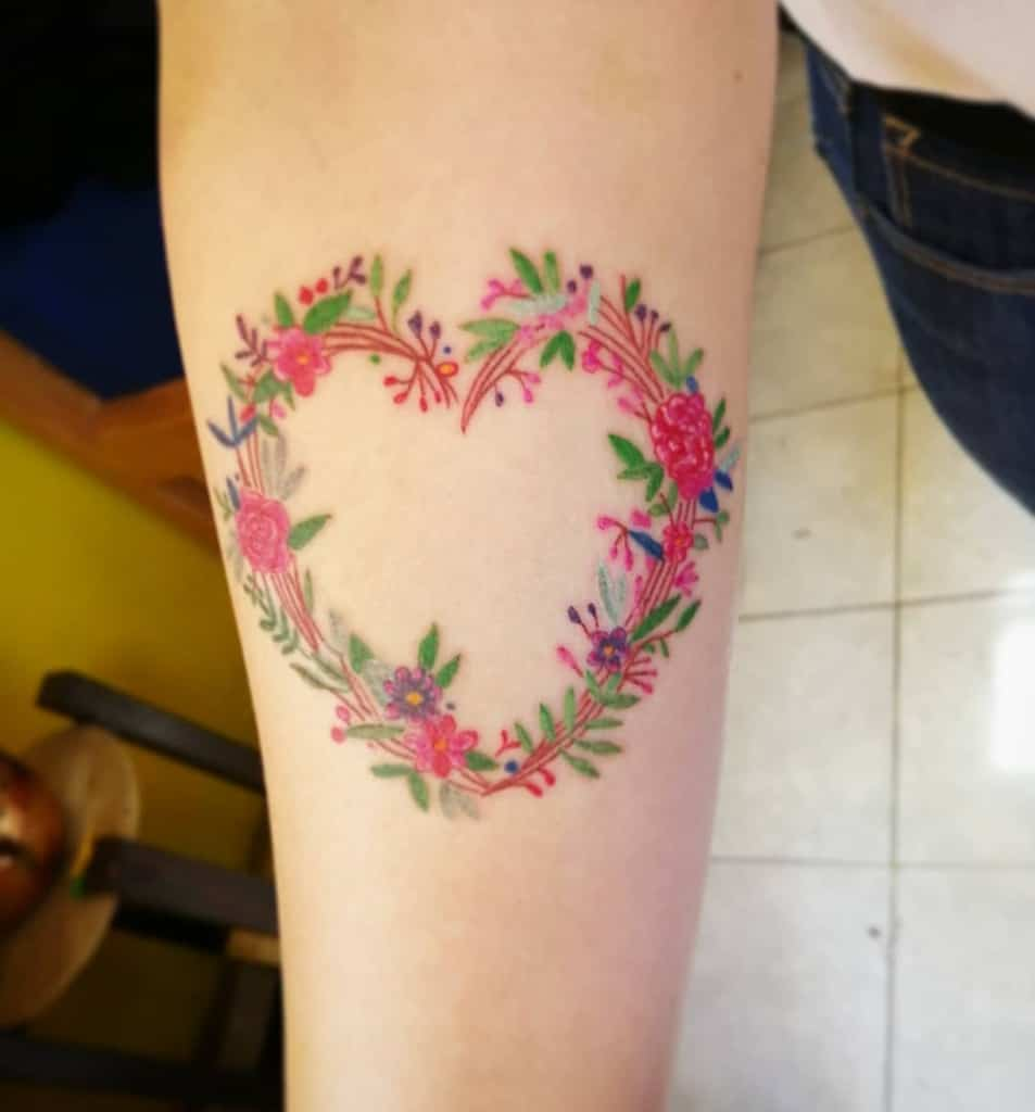 Color Heart Tattoo Bakemonopich Armk