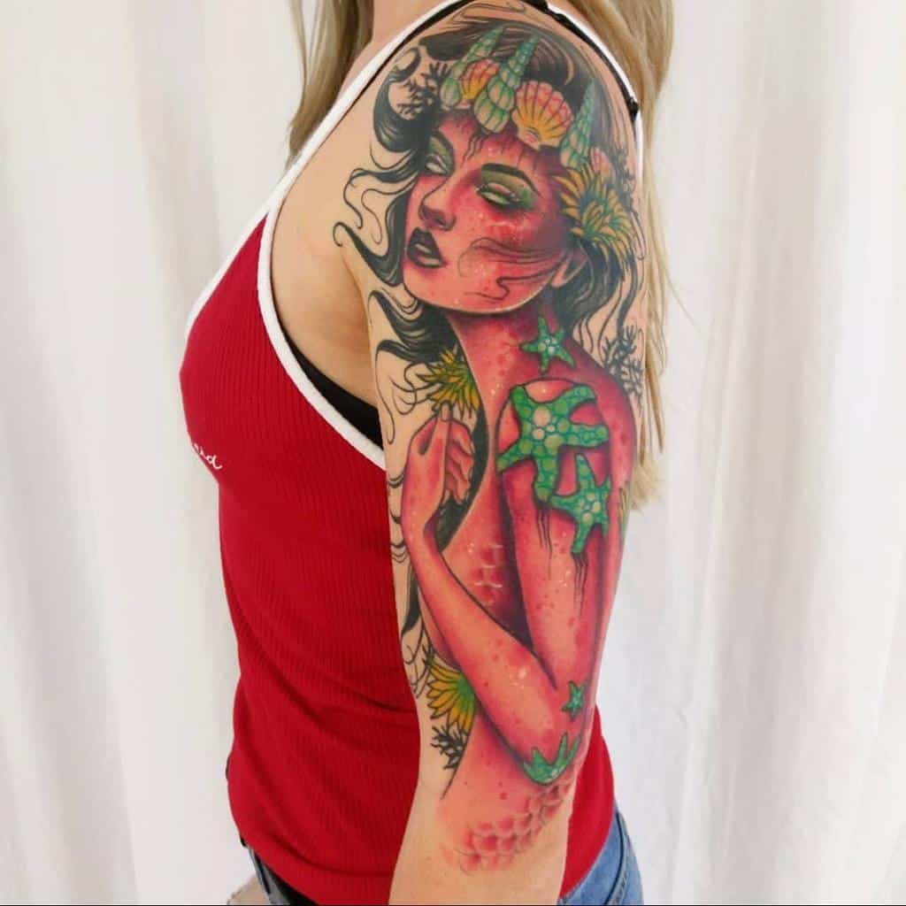 Colored 34 sleeve tattoo drewstattoo