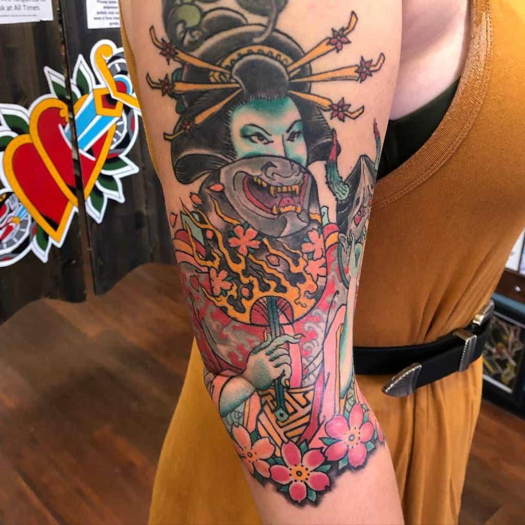 Colored 34 sleeve tattoo jamesmorgan_awh