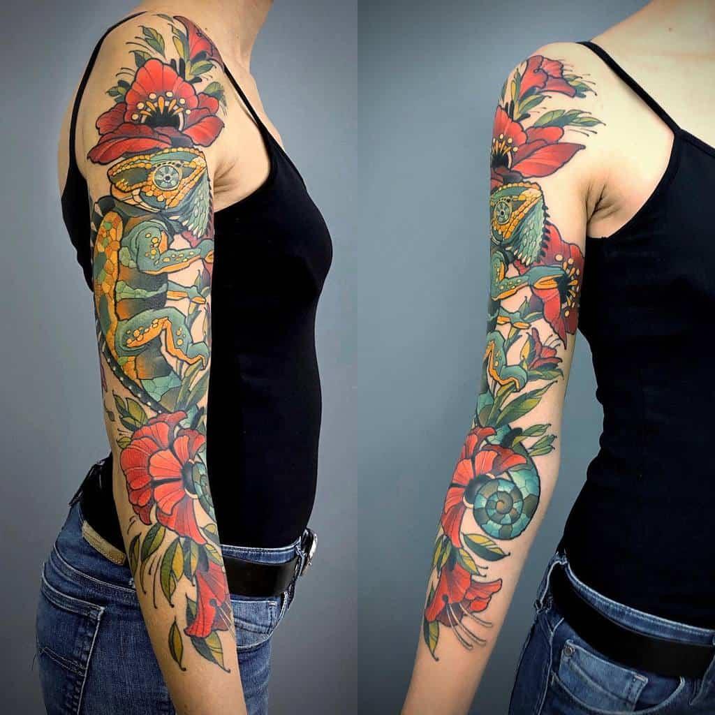 Colored 34 sleeve tattoo jonpall_art