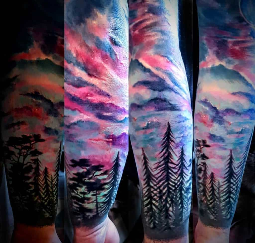 Colored Forest Sleeve Tattoos beccambtattoo
